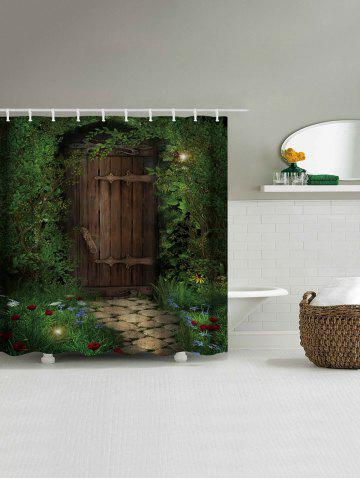 Best Fairy Forest Wood Door Printed Shower Curtain - W59 INCH * L71 INCH DEEP GREEN Mobile