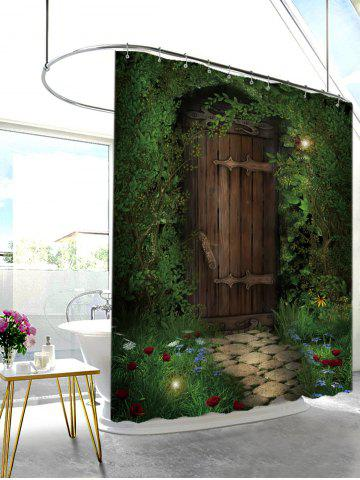 New Fairy Forest Wood Door Printed Shower Curtain - W71 INCH * L79 INCH DEEP GREEN Mobile