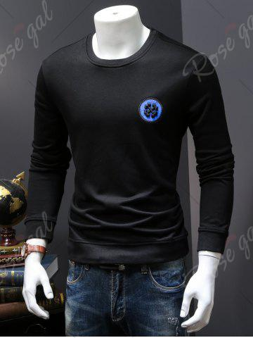 Shop Back Sequinned Chief Skull Embroidered Sweatshirt - M BLACK Mobile