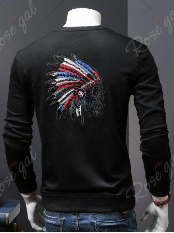 Hot Back Sequinned Chief Skull Embroidered Sweatshirt - M BLACK Mobile