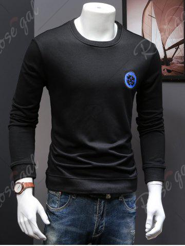 Trendy Back Sequinned Chief Skull Embroidered Sweatshirt - M BLACK Mobile