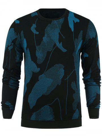 Cheap Cotton Blends Abstract Ombre Print Sweatshirt - M BLUE Mobile