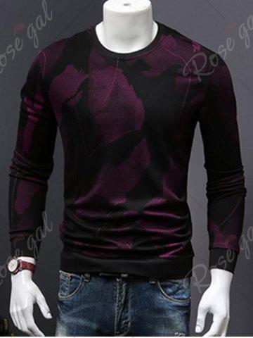 Discount Cotton Blends Abstract Ombre Print Sweatshirt - 4XL WINE RED Mobile