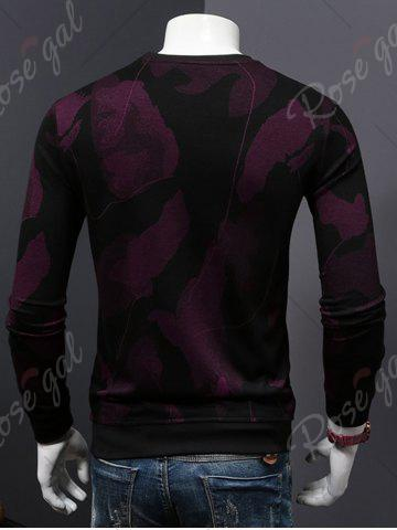 New Cotton Blends Abstract Ombre Print Sweatshirt - 4XL WINE RED Mobile