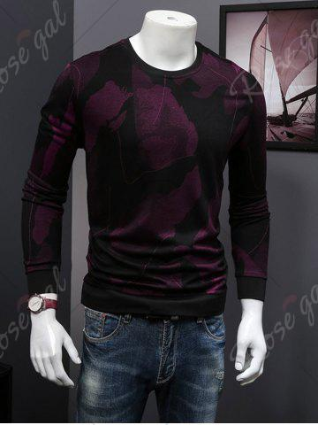 Affordable Cotton Blends Abstract Ombre Print Sweatshirt - 4XL WINE RED Mobile