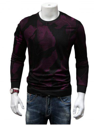 Best Cotton Blends Abstract Ombre Print Sweatshirt - 4XL WINE RED Mobile