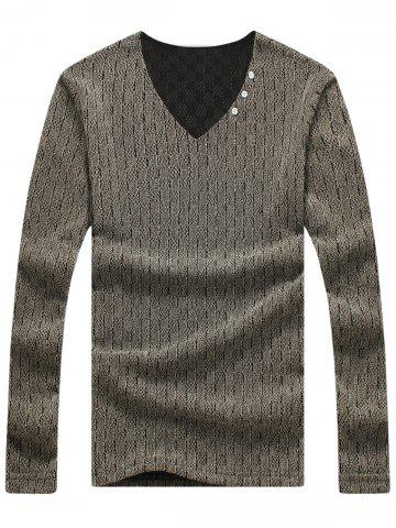 Long Sleeve Mesh Knited Plaid T-shirt - Coffee - M