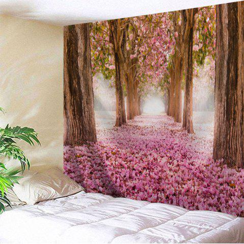 Sakura Scenery Throw Fabric Tapestry Wall Hanging - Pink - W71 Inch * L91 Inch