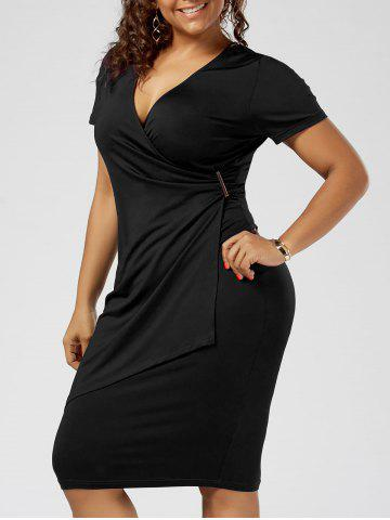 Plus Size Overlap Tight Surplice Work Dress - Black - 2xl