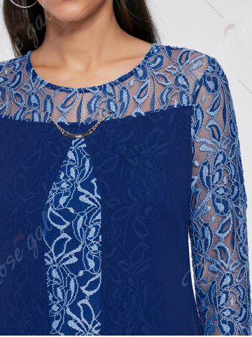 Chic Sheer Lace Insert Mini Shift Dress - S DEEP BLUE Mobile
