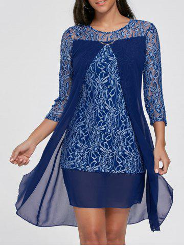 Affordable Sheer Lace Insert Mini Shift Dress - S DEEP BLUE Mobile