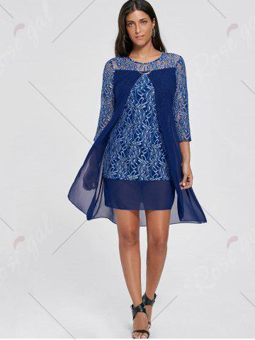 Outfit Sheer Lace Insert Mini Shift Dress - S DEEP BLUE Mobile