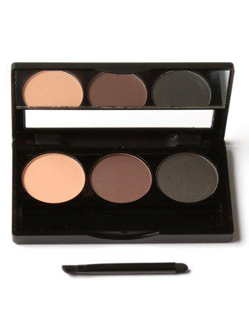 Buy 3 Colors Waterproof Eyebrow Powder Box and Mirror Brush - #01  Mobile