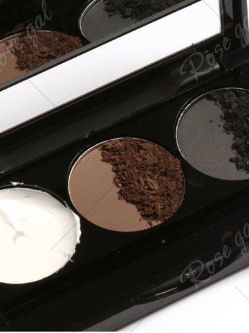 Affordable 3 Colors Waterproof Eyebrow Powder Box and Mirror Brush - #02  Mobile