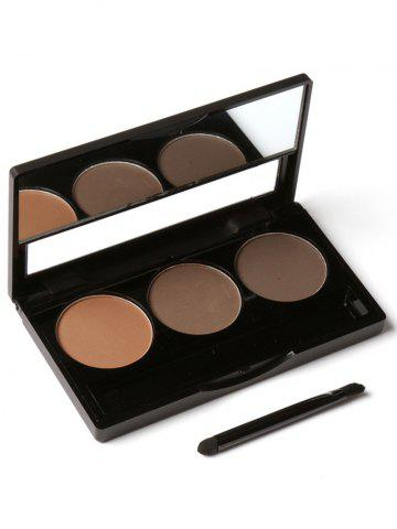 Chic 3 Colors Waterproof Eyebrow Powder Box and Mirror Brush - #03  Mobile