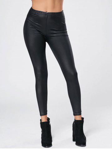 Stylish Elastic Waist Bodycon Slimming PU Leather Women's Leggings - Black - One Size(fit Size Xs To M)