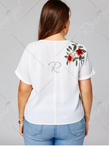 Affordable Floral Embroidery Batwing Sleeve Plus Size Blouse - XL WHITE Mobile