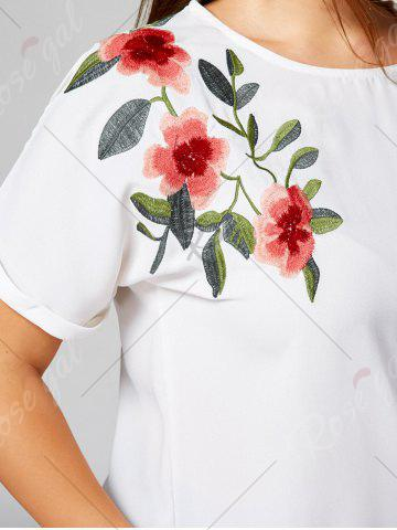 New Floral Embroidery Batwing Sleeve Plus Size Blouse - XL WHITE Mobile