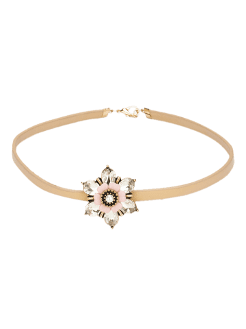 Online Rhinestone Flower Embellished PU Leather Choker - CHAMPAGNE  Mobile
