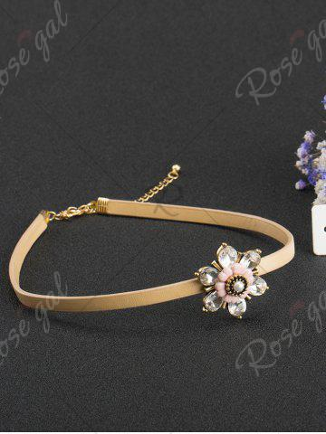 Unique Rhinestone Flower Embellished PU Leather Choker - CHAMPAGNE  Mobile