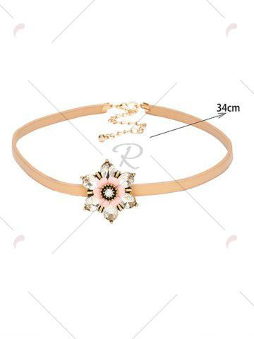 Affordable Rhinestone Flower Embellished PU Leather Choker - CHAMPAGNE  Mobile