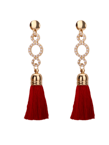 New Tassel Small Faux Pearl Circle Long Earrings - WINE RED  Mobile