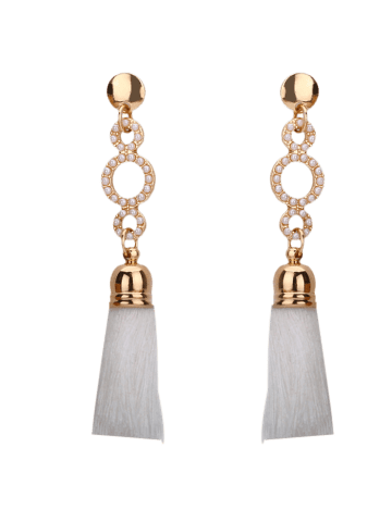 Trendy Tassel Small Faux Pearl Circle Long Earrings - WHITE  Mobile