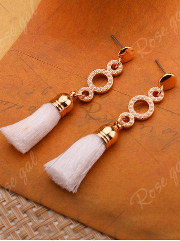 New Tassel Small Faux Pearl Circle Long Earrings - WHITE  Mobile