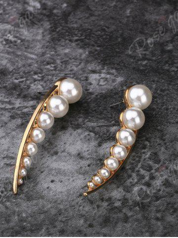 Outfit Faux Pearl Pea Statement Stud Earrings - GOLDEN  Mobile