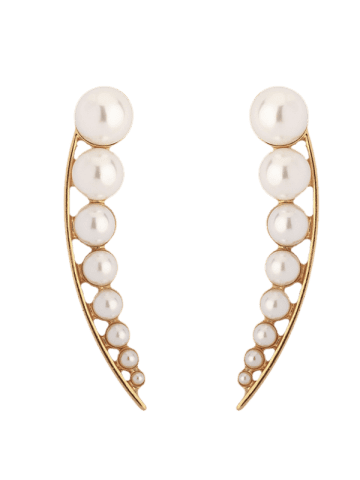 Chic Faux Pearl Pea Statement Stud Earrings - GOLDEN  Mobile
