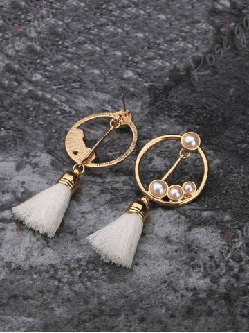 Affordable Hollow Circle Faux Pearl Tassel Pendant Earrings - GOLDEN  Mobile