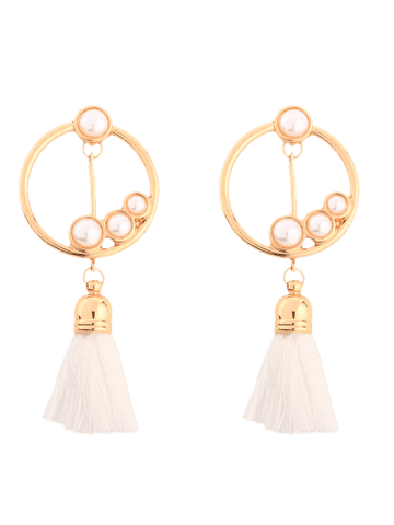 Chic Hollow Circle Faux Pearl Tassel Pendant Earrings - GOLDEN  Mobile
