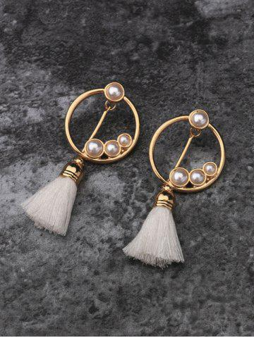 Outfit Hollow Circle Faux Pearl Tassel Pendant Earrings - GOLDEN  Mobile