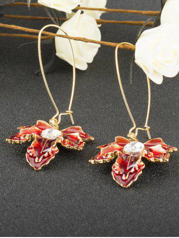 Latest Maple Leaf Oil Drip Embellished Fish Hook Earrings WINE RED
