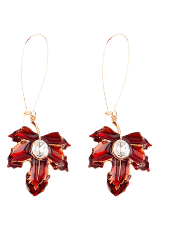 Affordable Maple Leaf Oil Drip Embellished Fish Hook Earrings - WINE RED  Mobile