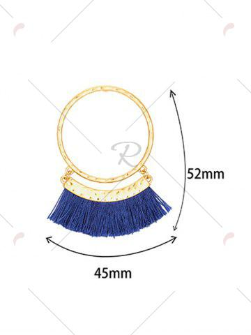 Online Statement Stud Hoop Earrings with Fringed - BLUE  Mobile