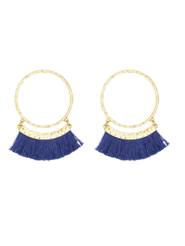 Shops Statement Stud Hoop Earrings with Fringed - BLUE  Mobile