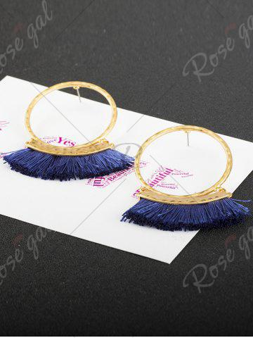 Outfit Statement Stud Hoop Earrings with Fringed - BLUE  Mobile