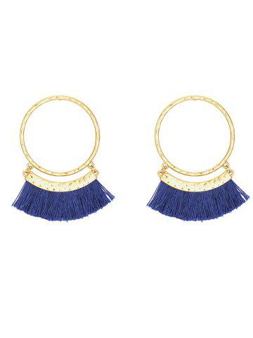 Fancy Statement Stud Hoop Earrings with Fringed BLUE