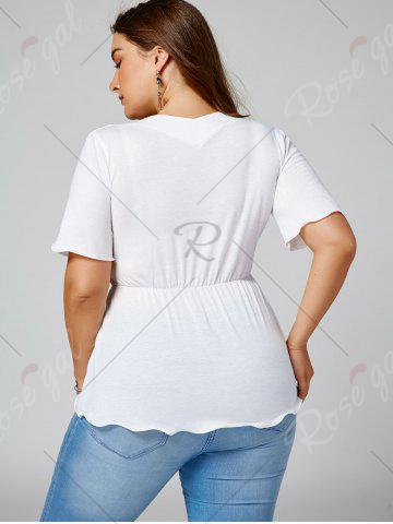 Fashion Plus Size Empire Waist Belted Surplice Blouse - XL WHITE Mobile