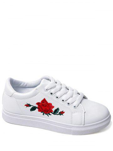 Shop Embroidery Faux Leather Athletic Shoes WHITE 39