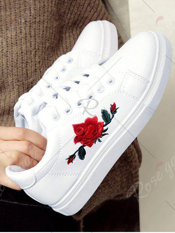 Shop Embroidery Faux Leather Athletic Shoes - 37 WHITE Mobile