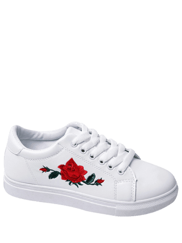 Unique Embroidery Faux Leather Athletic Shoes - 38 WHITE Mobile