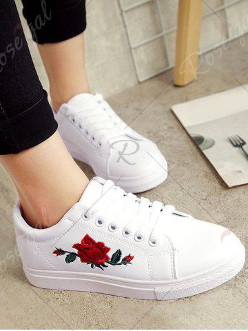Shop Embroidery Faux Leather Athletic Shoes - 38 WHITE Mobile