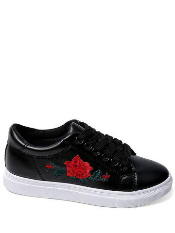 Embroidery Faux Leather Athletic Shoes - Black - 40