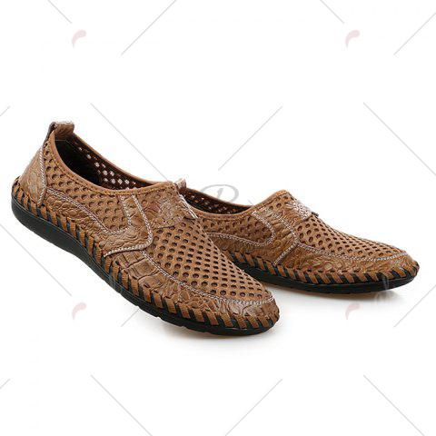 Buy Faux Leather Panels Hollow Out Slip On Sneakers - 43 BROWN Mobile