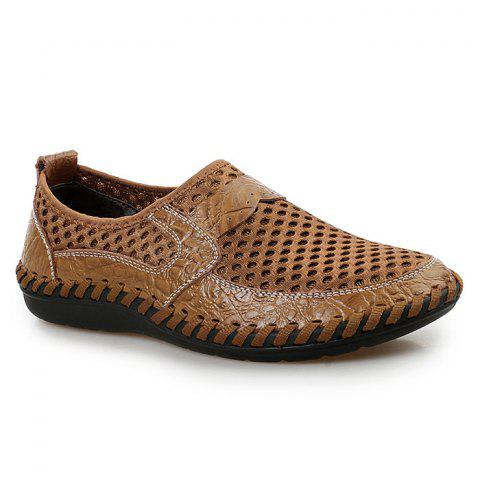 Hot Faux Leather Panels Hollow Out Slip On Sneakers - 43 BROWN Mobile