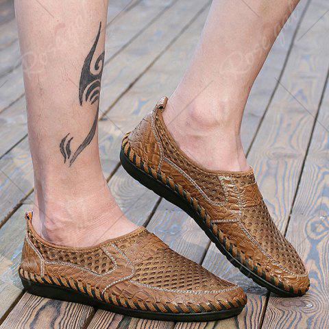 Fashion Faux Leather Panels Hollow Out Slip On Sneakers - 43 BROWN Mobile
