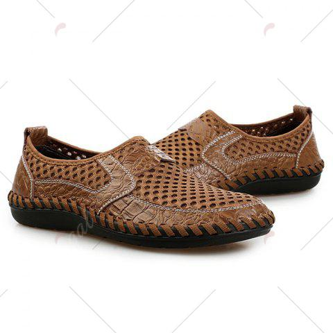 Trendy Faux Leather Panels Hollow Out Slip On Sneakers - 43 BROWN Mobile