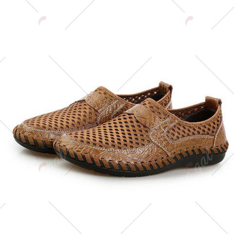 New Faux Leather Panels Hollow Out Slip On Sneakers - 43 BROWN Mobile